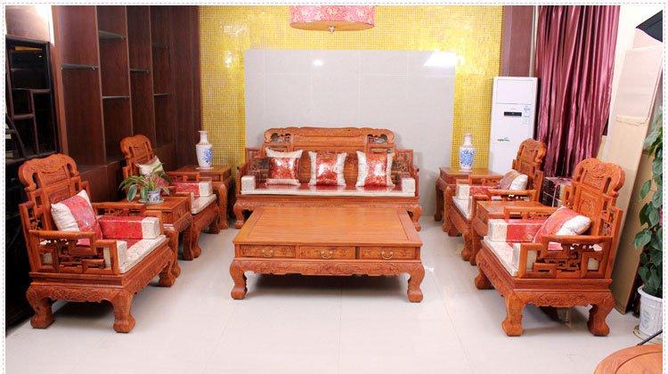 正品红木家具 大果紫檀 缅甸花梨超大 红木 蝙蝠 沙发 10件套沙发